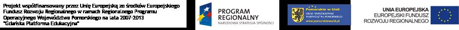 Logo Unii Europejskiej, Urzędu Pomorskiego, Urzędu Wojewódzkiego i Programu Regionalego Narodowej Strategii Spójności